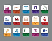 document types flat icon set