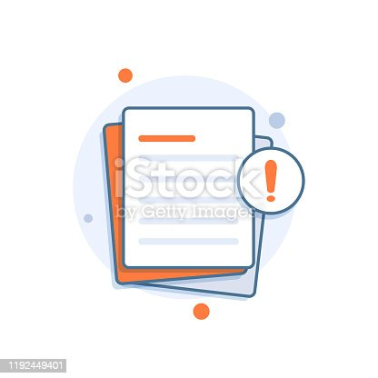 istock Document with alert or error notification bubble 1192449401