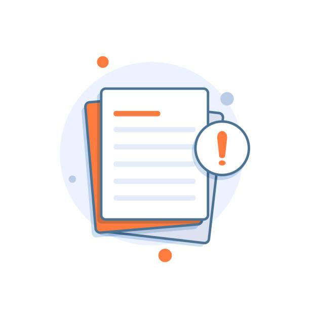 dokument z dymkiem alertu lub powiadomienia o błędzie - papier stock illustrations