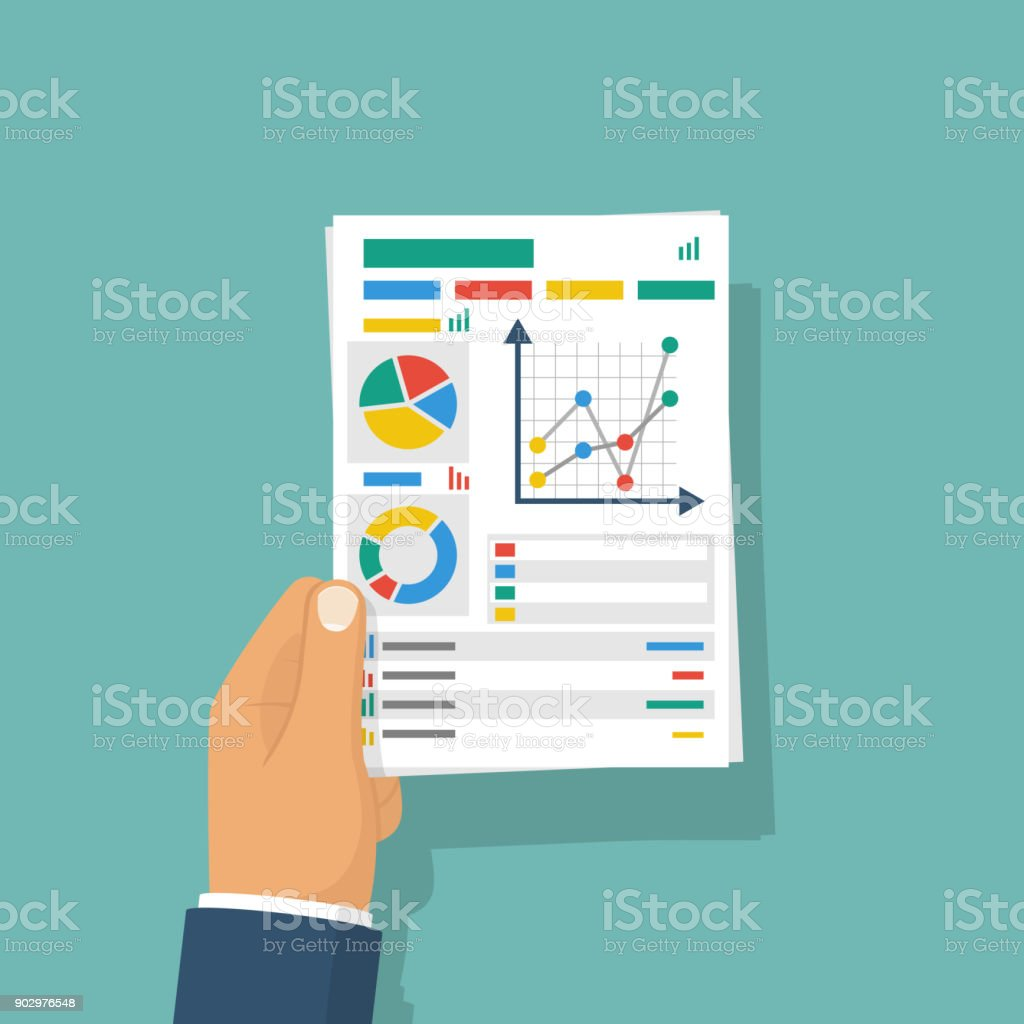Document with charts and graphs business reports hold in hand businessman. vector art illustration