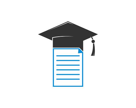 Document with graduation hat logo