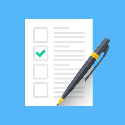 Document with green check mark and pen. Checklist and single tick icon. Green checkmark. Claim form, fill application form, survey, voting concepts. Modern flat design graphic elements. Vector icon