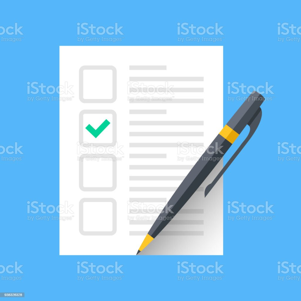 Document with green check mark and pen. Checklist and single tick icon. Green checkmark. Claim form, fill application form, survey, voting concepts. Modern flat design graphic elements. Vector icon vector art illustration