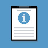 document with information sign blue round icon in clipboard