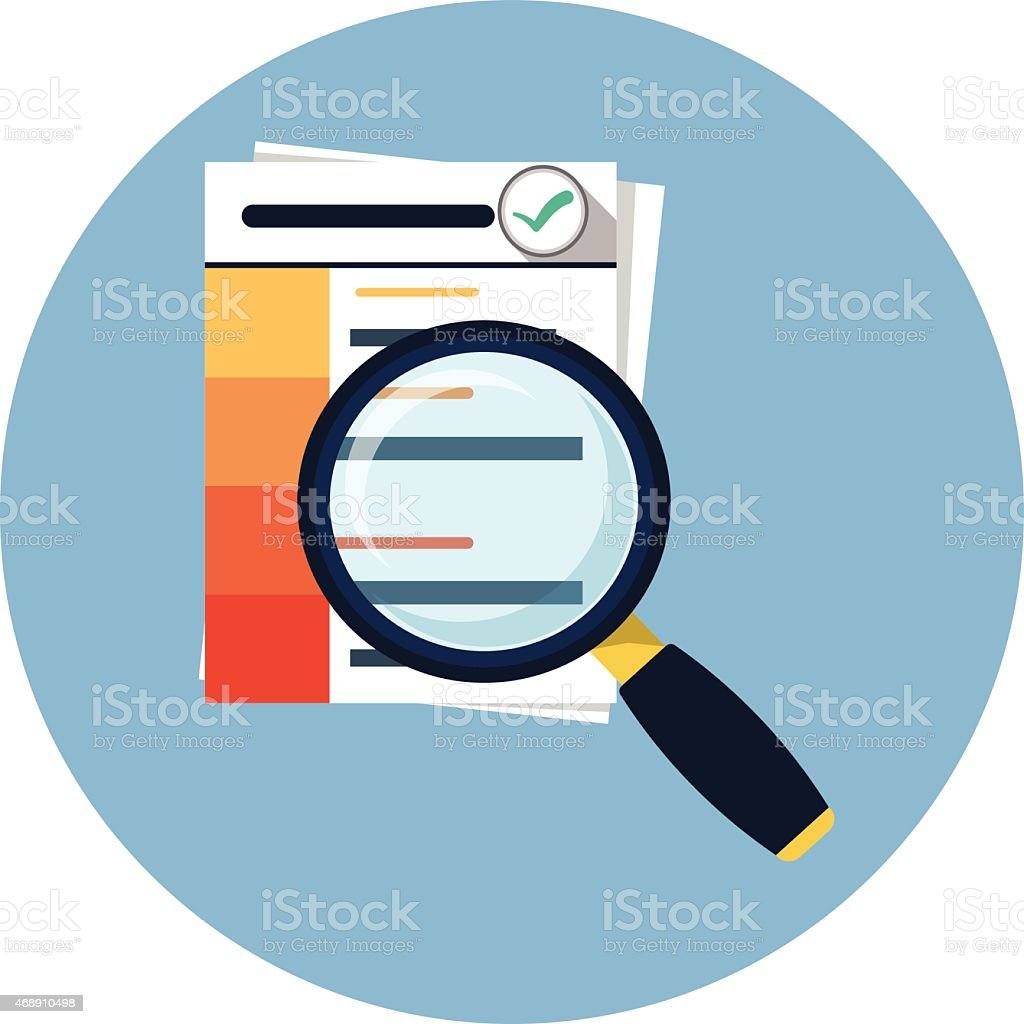 Document with Magnifying Glass Flat Icon vector art illustration