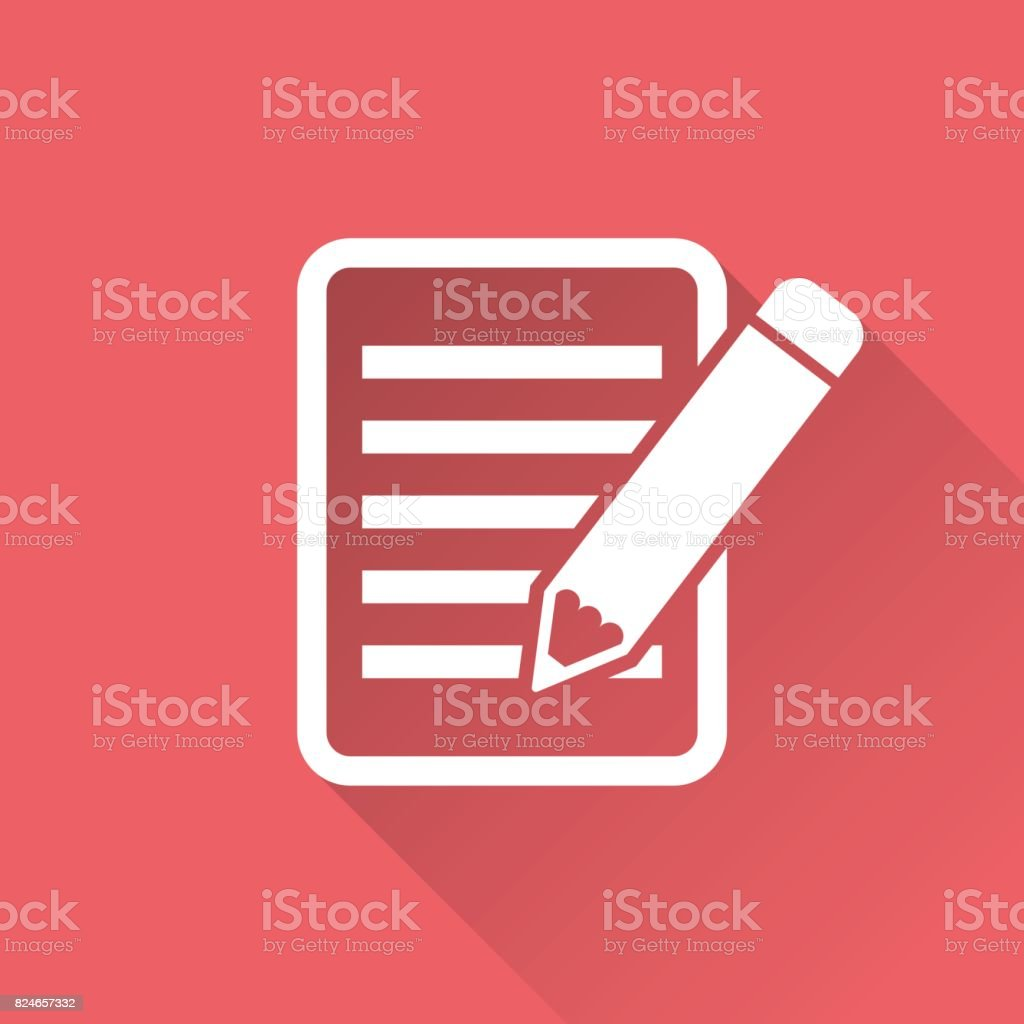 Document with pencil pictogram icon. Simple flat illustration for business, marketing internet concept on red background with long shadow. Trendy modern vector symbol for web site design or mobile app vector art illustration