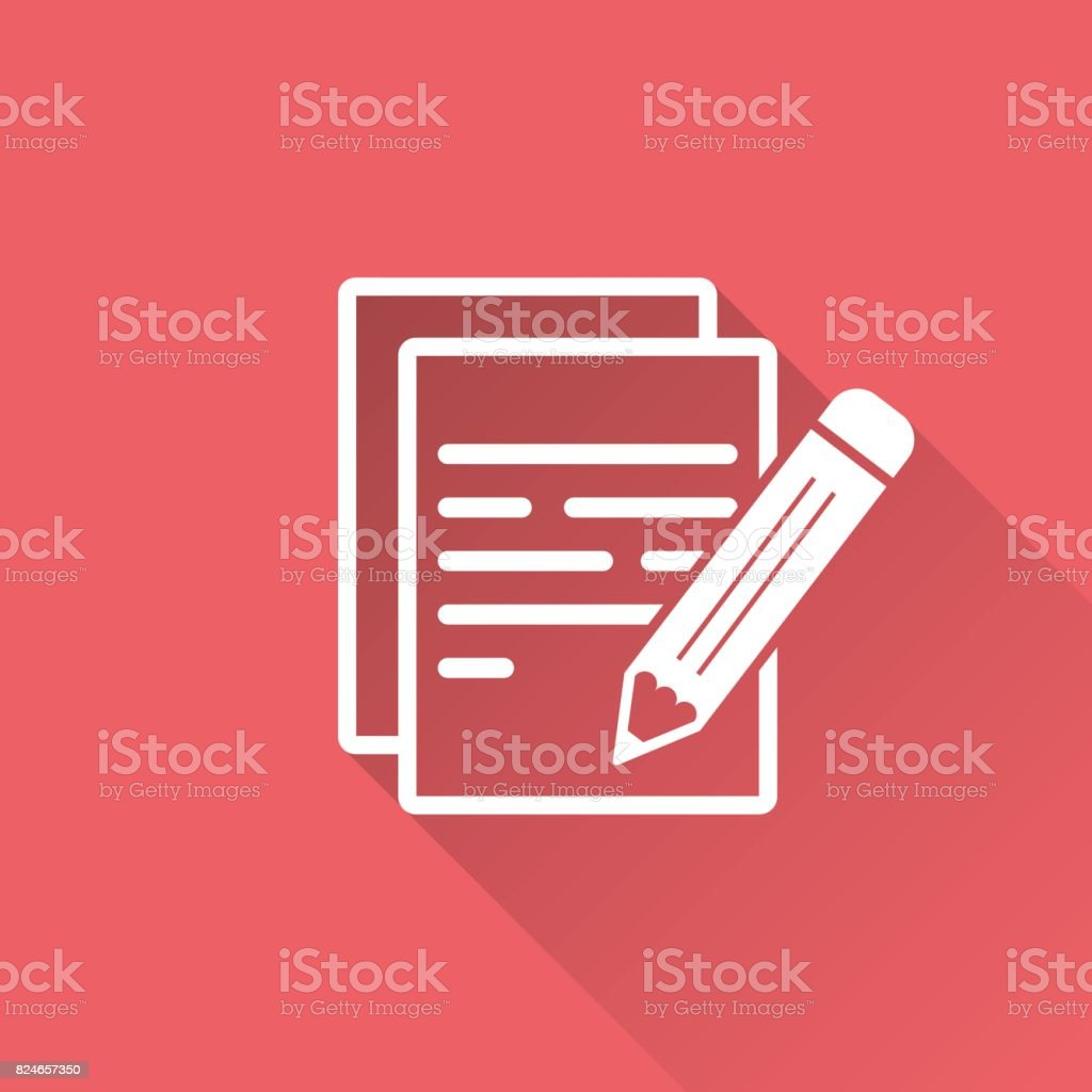 Document With Pencil Pictogram Icon Simple Flat Illustration