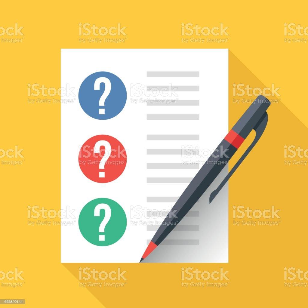 Mit Fragezeichen Und Stift Zu Dokumentieren Blatt Papier Und ...