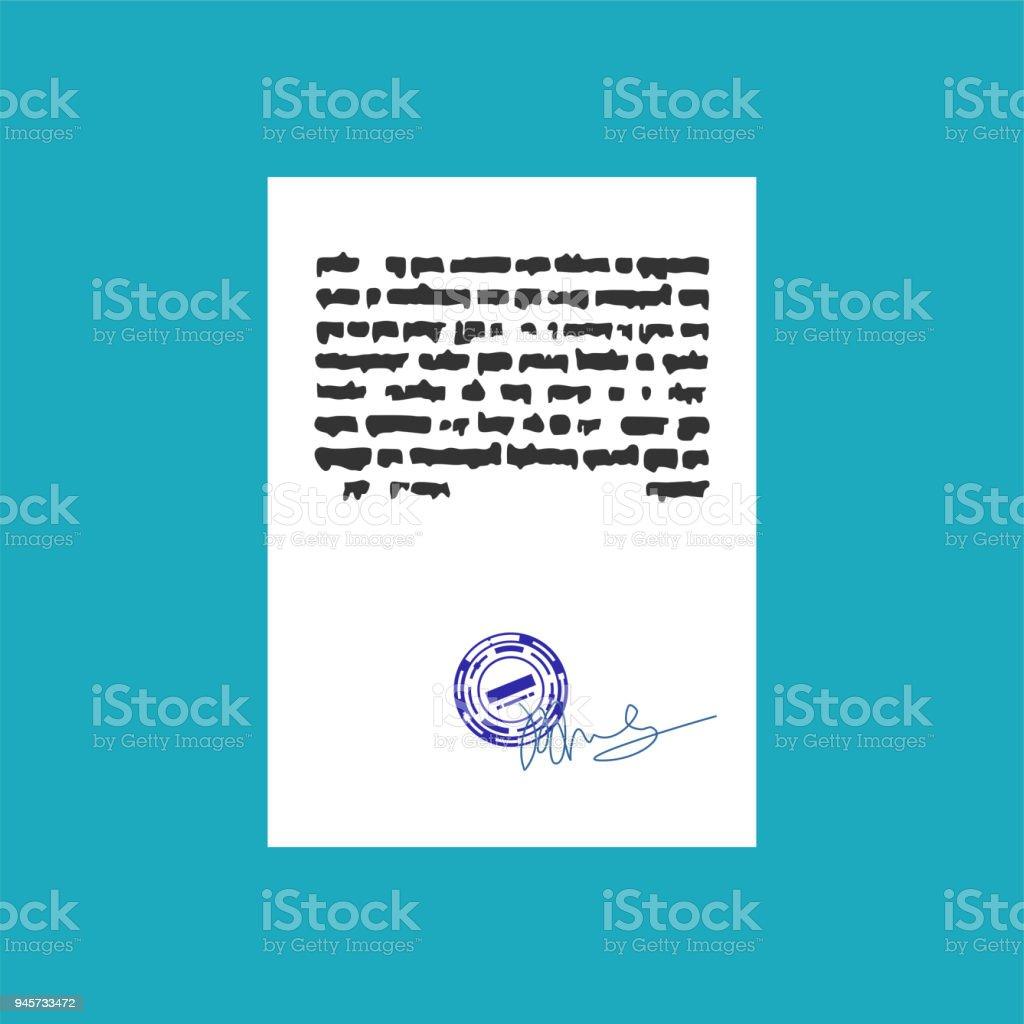 Ilustración de Documento Con El Sello De Sello Y Firma Plantilla De ...