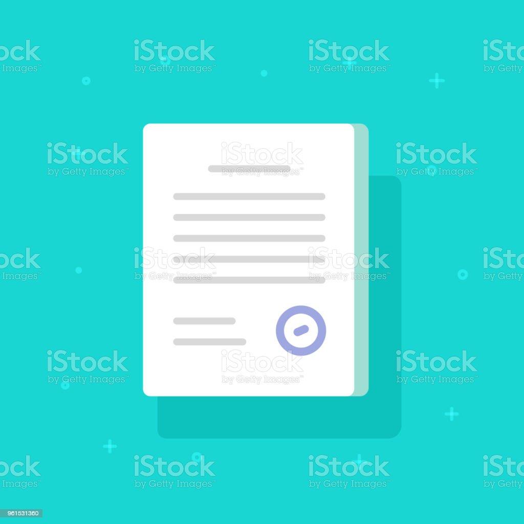 Dokument mit Stempel Vektor Icon, flache Cartoon Papier Doc Anwendungsseite mit Genehmigung Dichtung und Text, Idee, rechtliche Vereinbarung Form, Lizenz oder zertifizierten Vertrag Symbol isoliert – Vektorgrafik