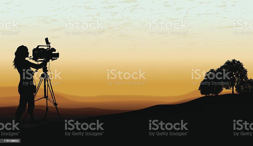 Documentary - Film Crew, Cameraman Background vector art illustration