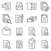 documentation icons set, thin line design. business papers and files. various interactions with the document, linear symbols collection. isolated vector illustration.