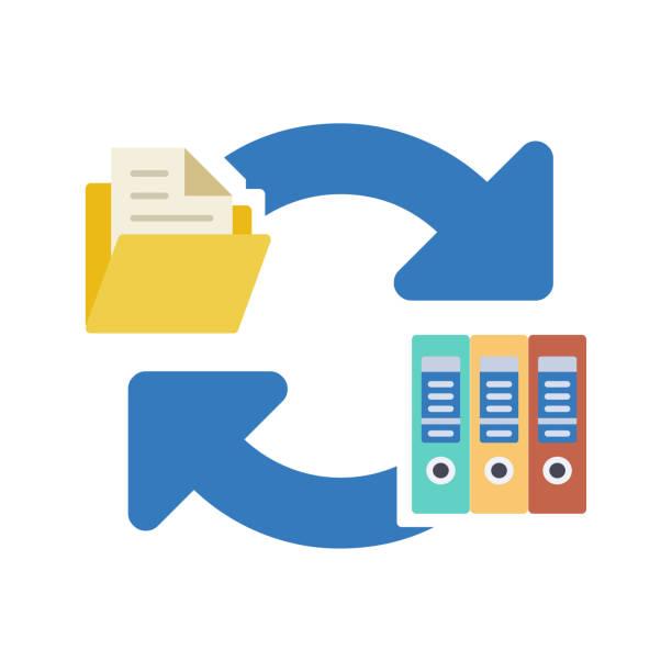 ilustraciones, imágenes clip art, dibujos animados e iconos de stock de icono de transferencia de archivo de documento - conceptos y temas