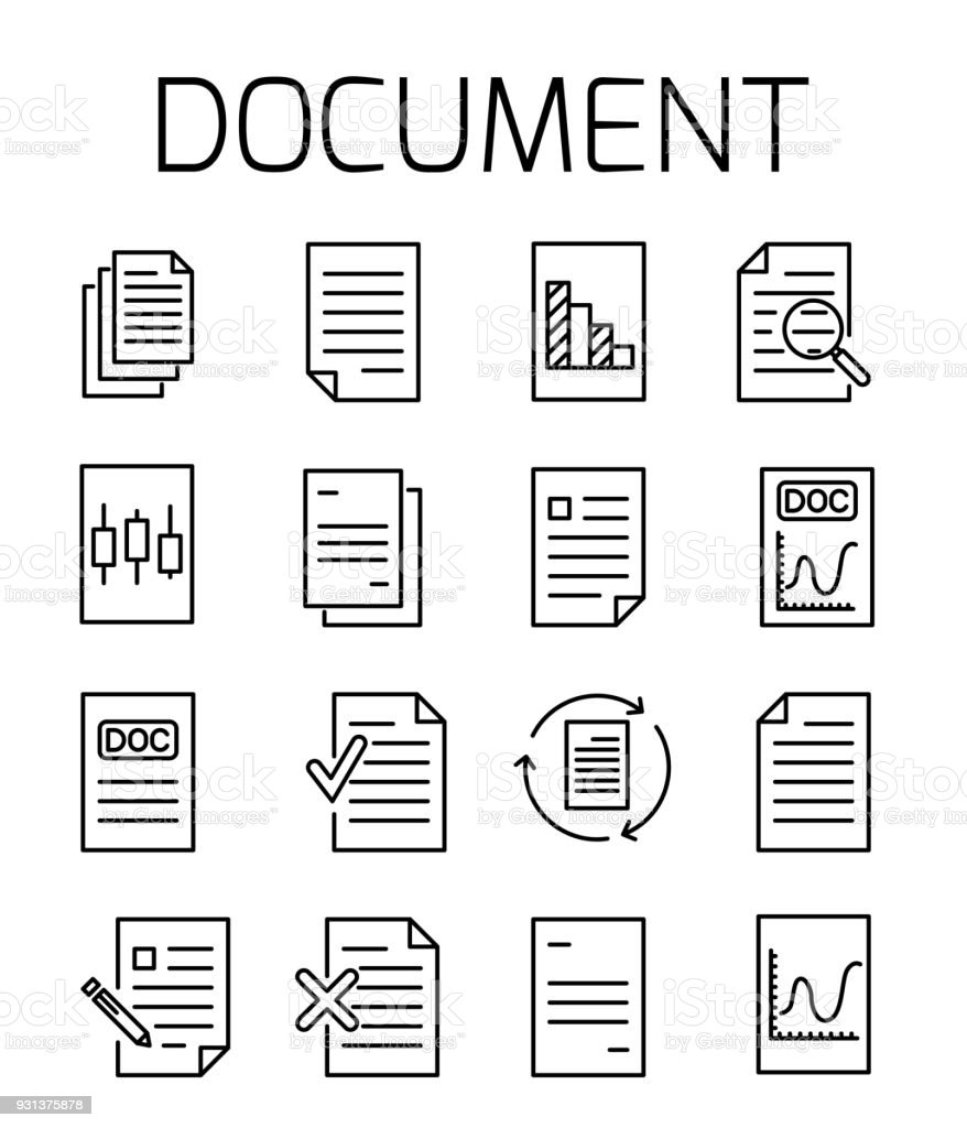 Documentl related vector icon set. vector art illustration