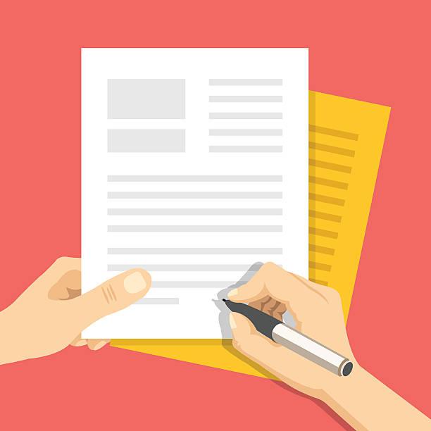 dokumenty i ręka z pióro objawy dokumentów. koncepcja o podpisanie - ludzkie części ciała stock illustrations
