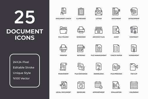 Documents And Paperwork Thin Line Icon Set