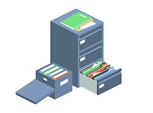 istock Documents cabinet vector files archive storage box 1181886615