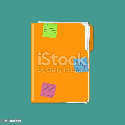 istock Documents folder with paper sheets and sticky notes reminder. Template design for business or education concept. 1301063686