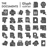 Documents glyph icon set, papers and files symbols collection, vector sketches, logo illustrations, data signs solid pictograms package isolated on white background, eps 10