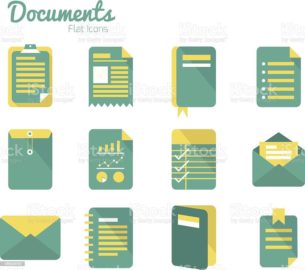 Documents icon set. vector art illustration