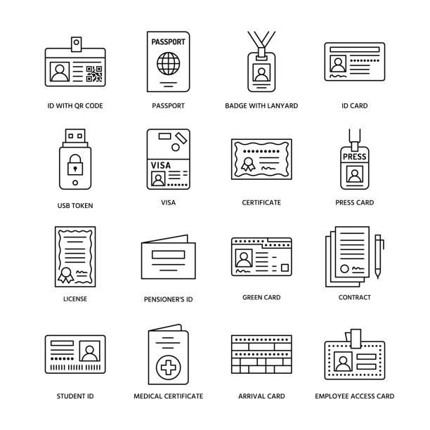 ilustraciones, imágenes clip art, dibujos animados e iconos de stock de iconos de documentos identidad vector línea plana. tarjetas de identificación, pasaporte, acceso de la prensa, pase de estudiante, visa, certificado de migración, ilustración de contrato simbólico, legal. indicaciones de la oficina notarial - carne