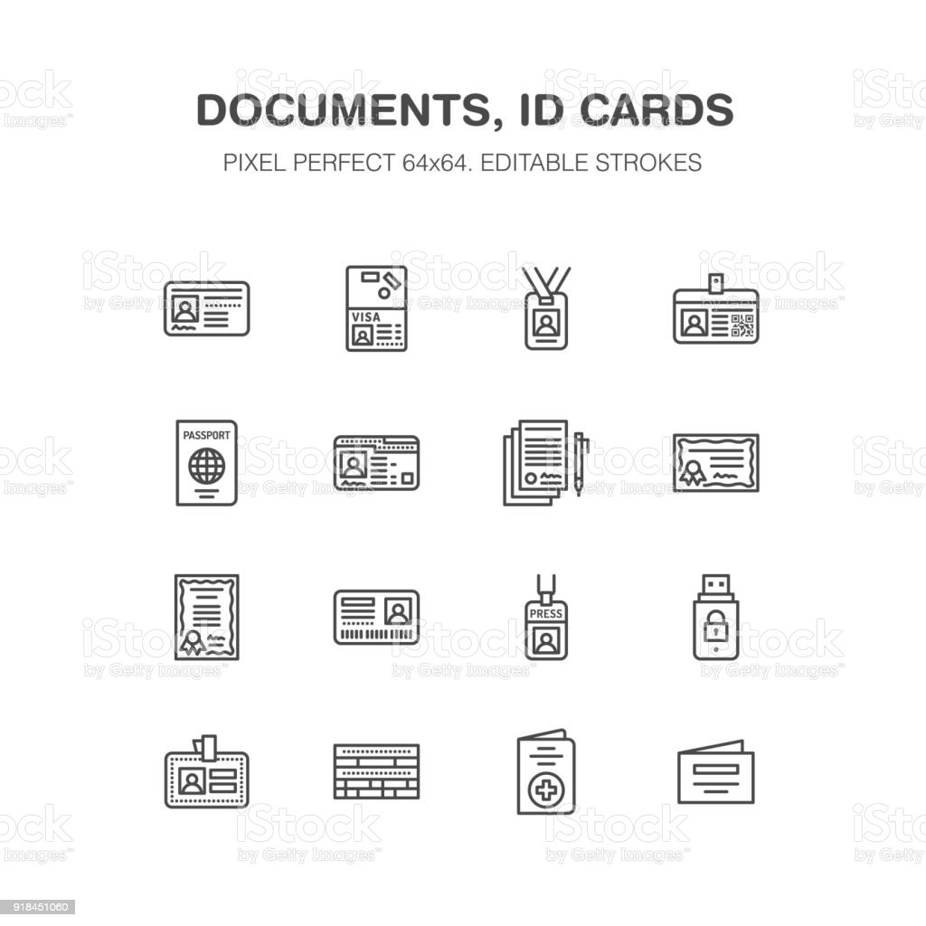Documents, identity vector flat line icons. ID cards, passport, press access student pass, visa, migration certificate, token legal contract illustration. Notarial office signs. Pixel perfect 64x64