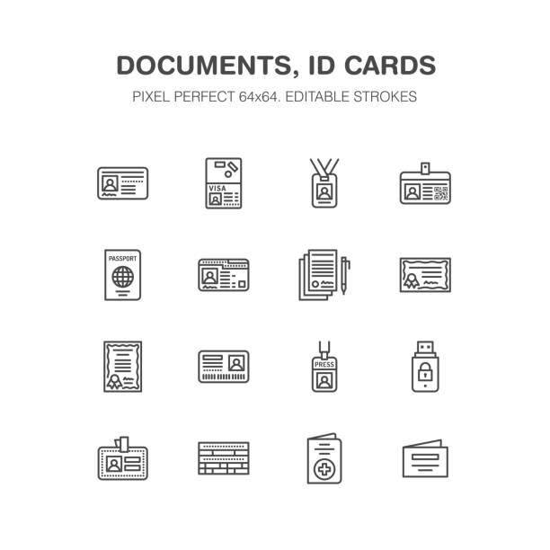ilustraciones, imágenes clip art, dibujos animados e iconos de stock de documentos de identidad, vectores iconos de línea plana. tarjetas de identificación, pasaporte, pase de prensa acceso estudiante, visa, certificado de migración, símbolo ilustración de contrato legal. indicaciones de la oficina notarial. pixel perfecto 64 x 64 - carne