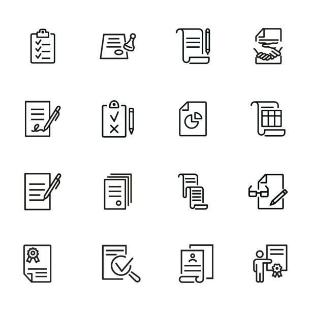 dokumentzeilensymbolsatz - unterschreiben stock-grafiken, -clipart, -cartoons und -symbole
