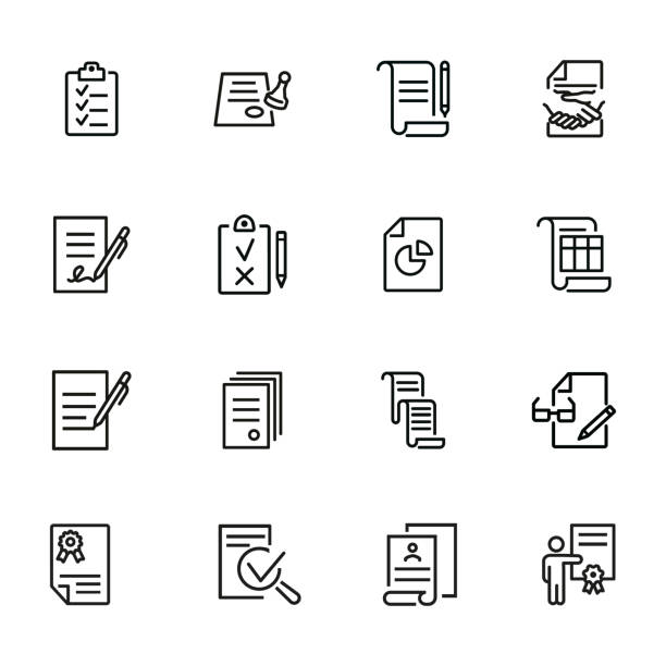 Documents line icon set Documents line icon set. Set of line icons on white background. Office concept. Contract, report, clipboard. Vector illustration can be used for topics like office job, meeting, postal form document stock illustrations