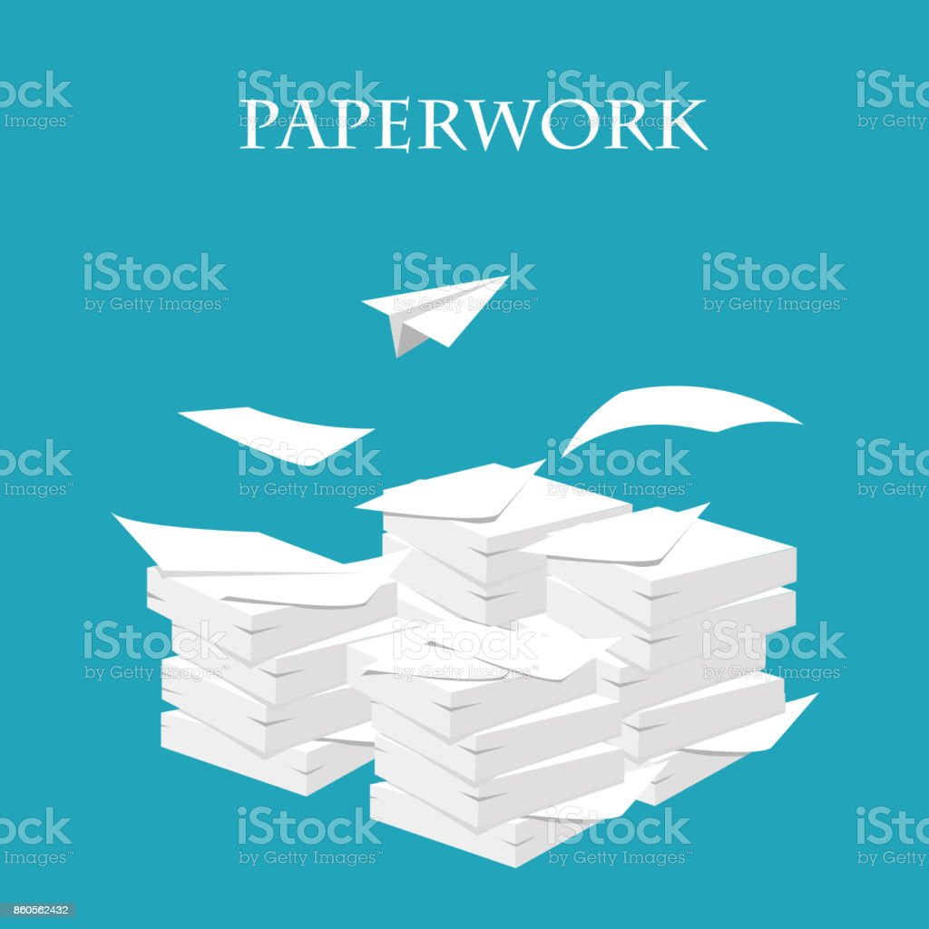 Documents. Stack, pile of paper. Paperwork and routine. Vector illustration vector art illustration