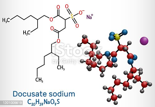 istock Docusate, dioctyl sulfosuccinate, docusate sodium, C20H37NaO7S molecule, is a stool softener for the treatment of constipation as a common laxative. Structural chemical formula and molecule model 1201005619