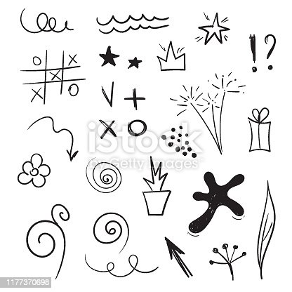 Doddle design elements. Vector set of hand drawn sketches. Blot, arrows, stars, spirals, tic tac toe, flowers, sparklers, lines, waves. Black ink on a white background