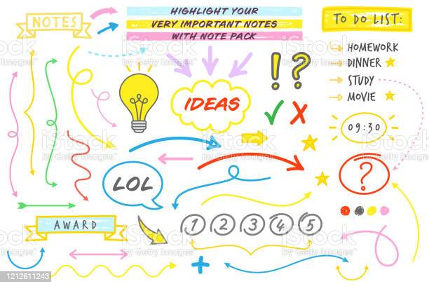 Doddle Style Note Taking Vector Set Stock Illustration - Download Image Now