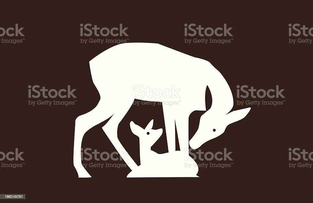 Doe and Fawn royalty-free doe and fawn stock illustration - download image now