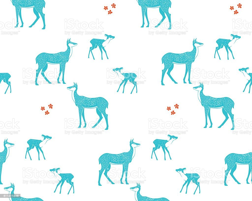 Doe, fawn and flowers. - Illustration vectorielle