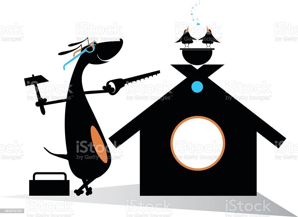 Dog a builder vector art illustration