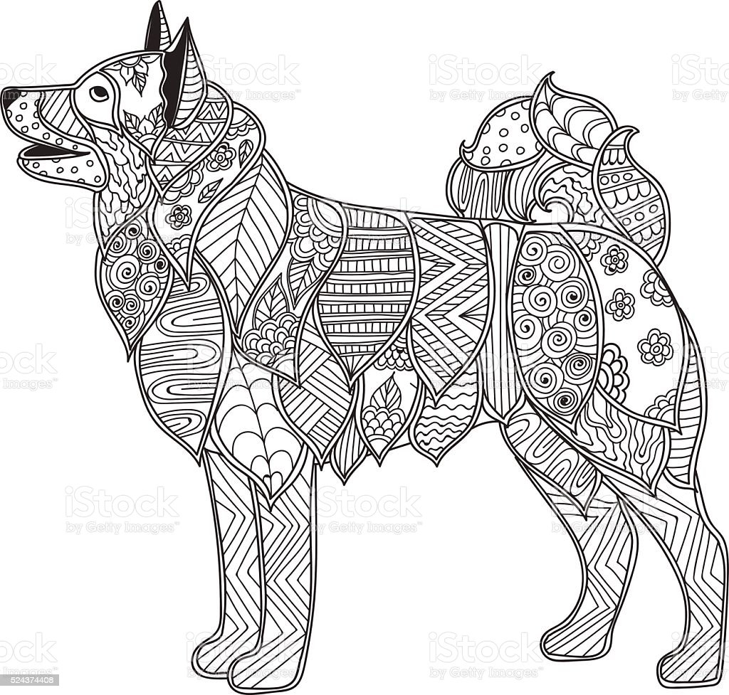 Dog Adult Antistress Or Children Coloring Page Stock Illustration Download Image Now Istock