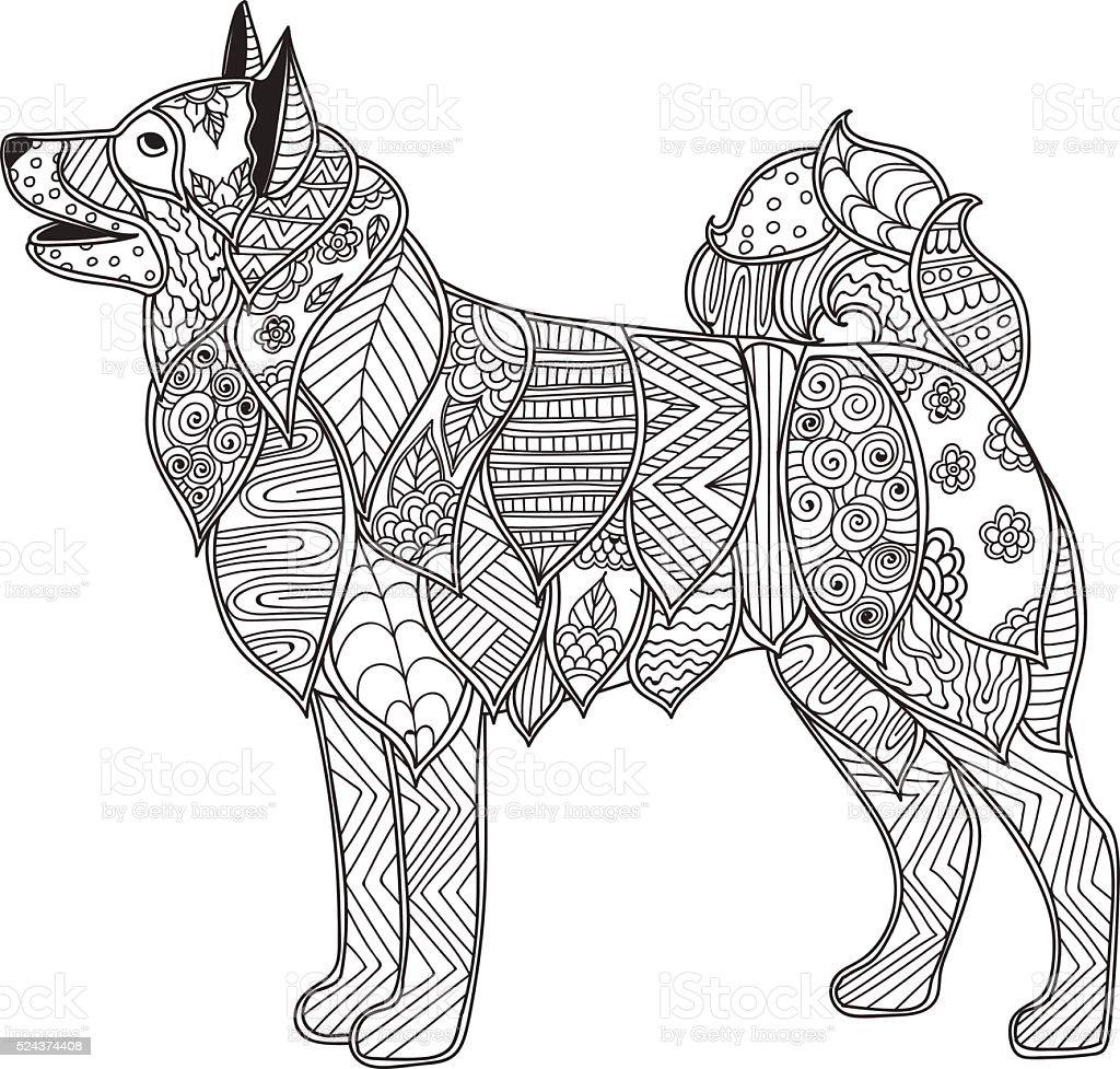Dog adult antistress or children coloring page vector art illustration