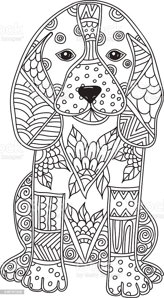 Dog Adult Antistress Or Children Coloring Page Royalty Free Stock Vector Art