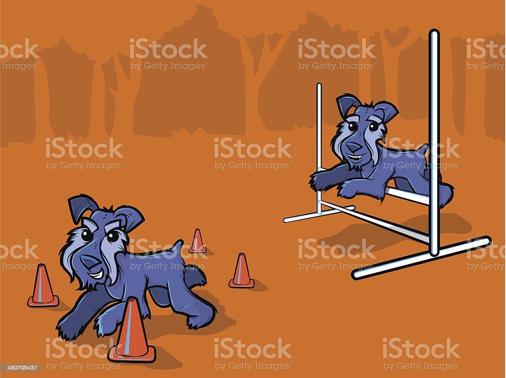 Dog Agility Training Cartoon vector art illustration