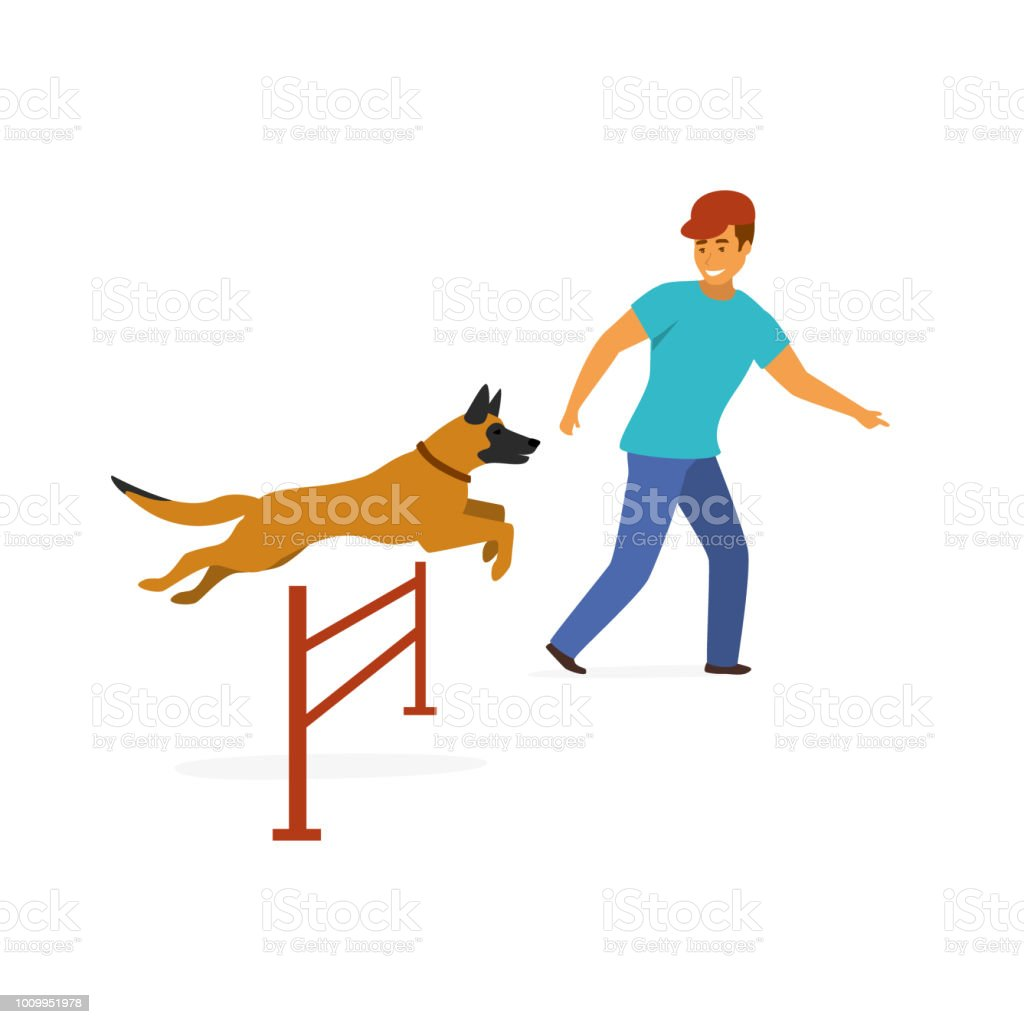 dog agility training exercise isolated vector graphic vector art illustration