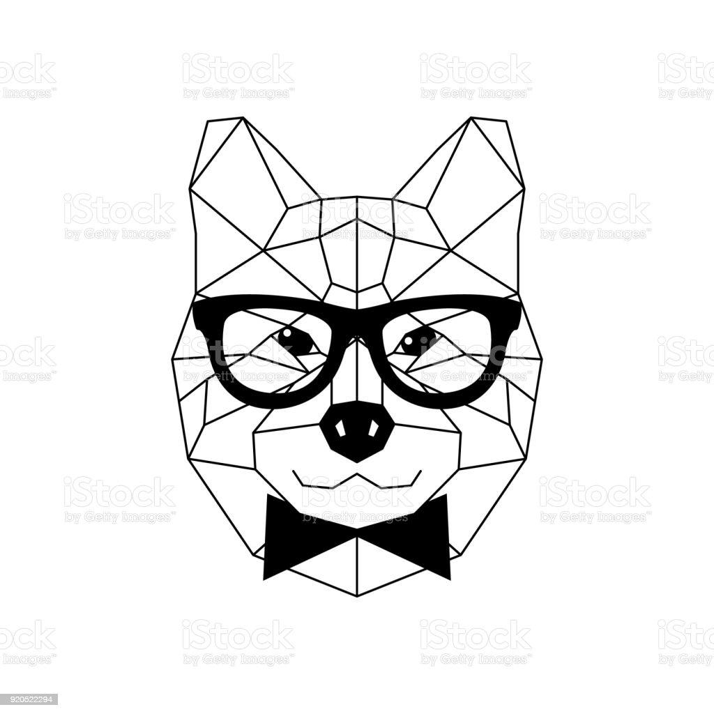 Dog Akito Inu in glasses and a bow tie. Geometric style. Vector illustration. – artystyczna grafika wektorowa