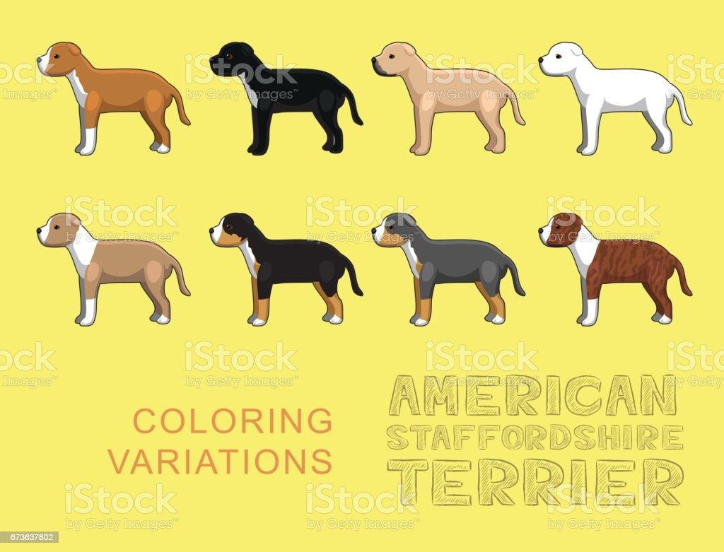 Dog American Stafforshire Terrier Coloring Variations Vector Illustration vector art illustration