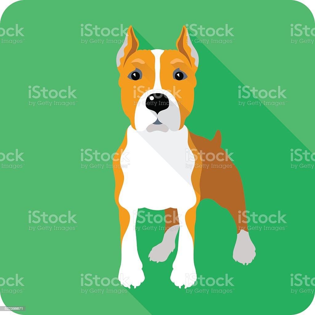dog Amstaff icon flat design vector art illustration