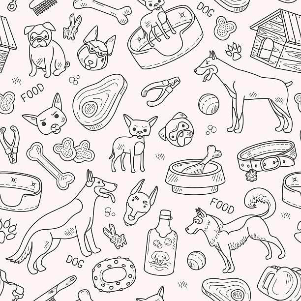 dog and accessories vector pattern - hundehaarbögen stock-grafiken, -clipart, -cartoons und -symbole