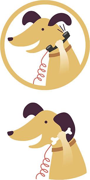 Dog and bone vector art illustration