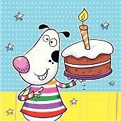 Cool dog holding a birthday cake.