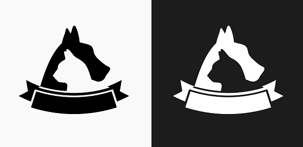 Dog and Cat Badge Icon on Black and White Vector Backgrounds