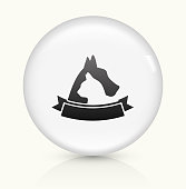 Dog and Cat Badge Icon on simple white round button. This 100% royalty free vector button is circular in shape and the icon is the primary subject of the composition. There is a slight reflection visible at the bottom.