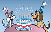 Great illustration of a cat and a dog sharing a birthday cake. Perfect for the pet lover. EPS and JPEG files included. Be sure to view my other illustrations, thanks!